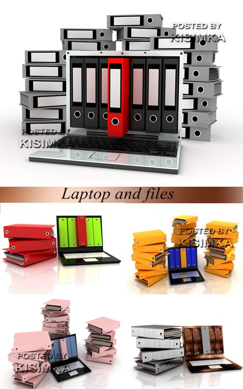Stock Photo: Laptop and files