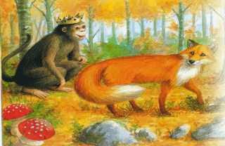 La zorra y el mono coronado rey