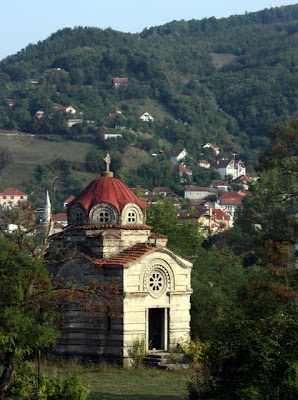 Kosovo countryside with a historic church