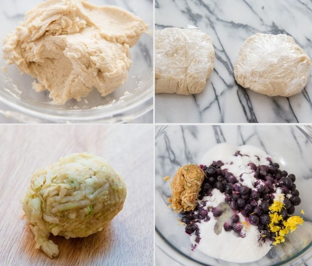 photo of collage of making the dough and the filling