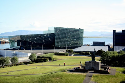 View of the opera house in Reykjavik from 101 Hotel in Iceland