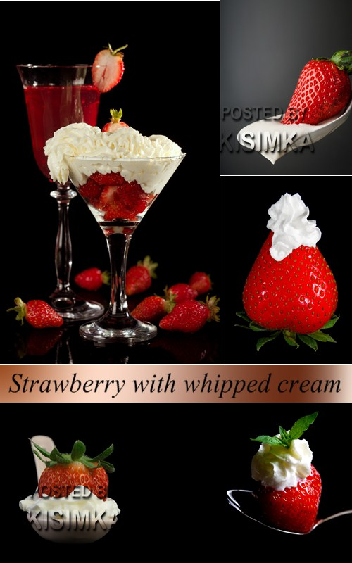 Stock Photo: Strawberry with whipped cream