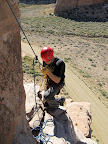 Chris on rappel in Buckhorn Wash