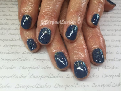 liverpoollashes liverpool lashes cnd shellac blue rapture lecente golden white glitter