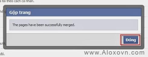 Kết thúc quá trình gộp fanpage facebook