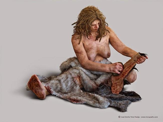 Mujer neandertal curtiendo una piel con una herramienta lítica. Fuente: Jose Emilio Toro Pareja, www.torografic.com