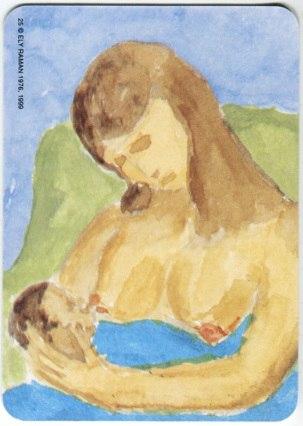 Карта из колоды метафорических карт Ох: женщина кормит малыша грудью