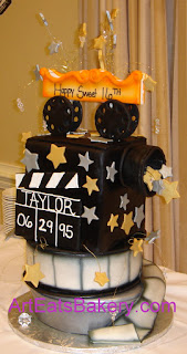 Unique custom designed Hollywood movie camera, film and canister sweet sixteen birthday cake