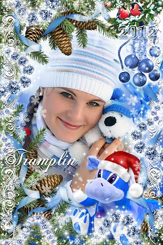 Новогодняя рамка – Милый Дракоша – в сказку полет.  Радует, радует всех Новый год