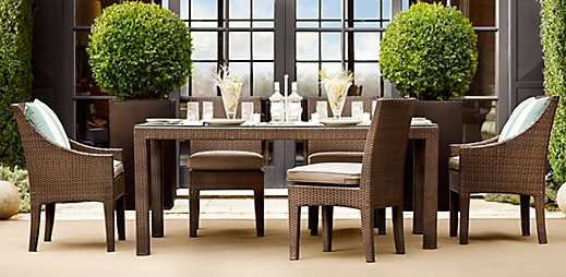 Living livelier outdoor furniture look for less for Restoration hardware outdoor dining