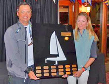 Heather Gregg-Earl winning J/70 NAs trophy- presented by Alan Johnstone