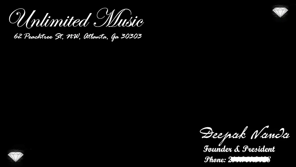 Unlimited Music Atlanta - Business Card - Deepak Nanda - Front