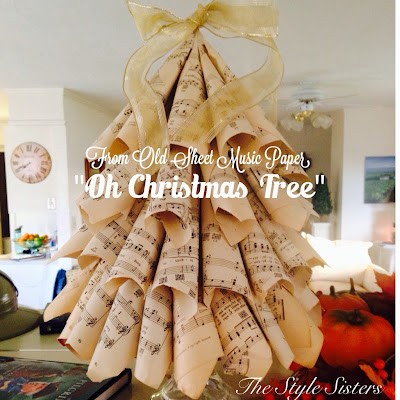 Music paper Christmas tree craft