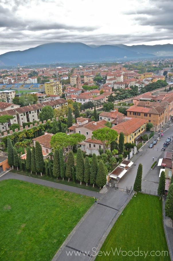 View from the top of the leaning tower of pisa.