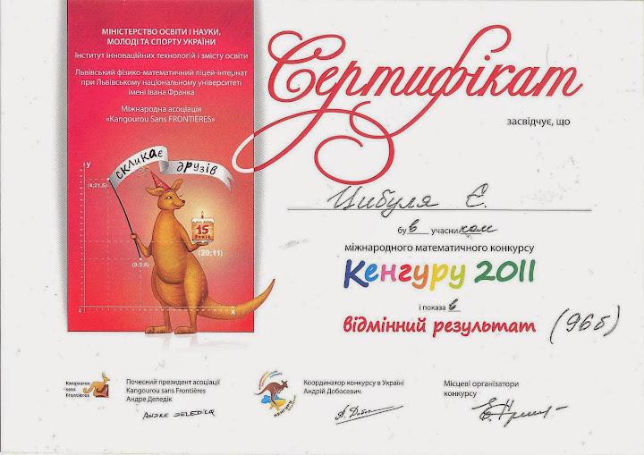Цыбуля Евгений, отличный результат, 2010-11 уч.год
