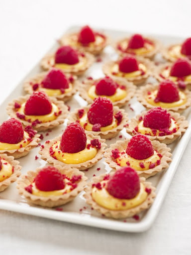 Sea buckthorn curd with raspberries