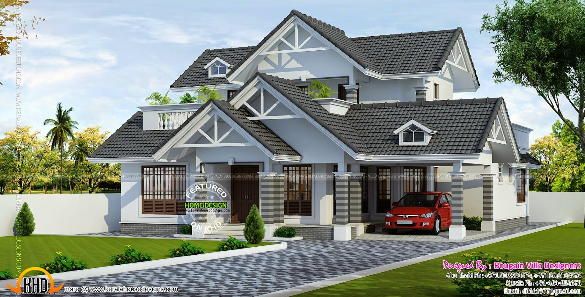 2480 square feet elegant home design kerala kerala home for Sloped roof house plans in india