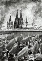 Demonstranten mit Fahnen, im Hintergrund der Dom.