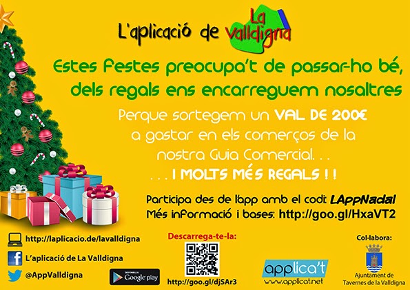 """Promoció Nadal - Reis 2014/15 de """"L'aplicació de La Valldigna"""""""