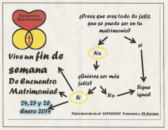 Cartel anunciador del Encuentro Matrimonial de los días 24, 25 y 26 de Enero