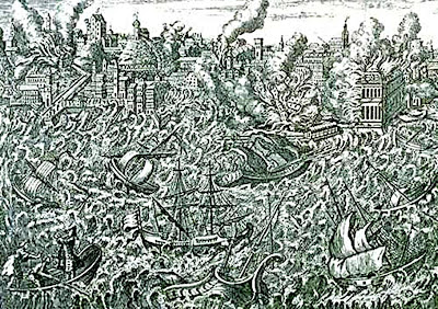 "Grabado ""O Terramoto de 1755"" en el Museu da Cidade (Fuente: Wikimedia Commons)"