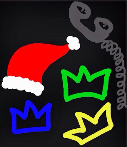 Gorro de Santa Clays, corona de Reyes y teléfono