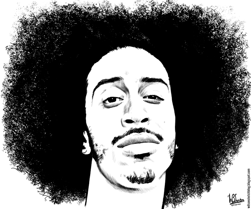 Ink drawing of Ludacris, using Krita 2.4.
