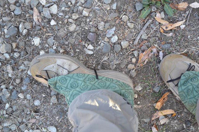 funky green gaiters for keeping the dirt out