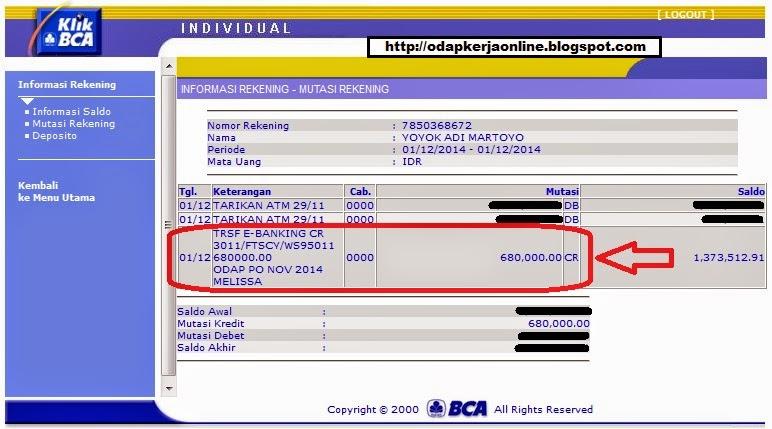 Rek.BCA - Bukti Transfer ODAP bulan November 2014