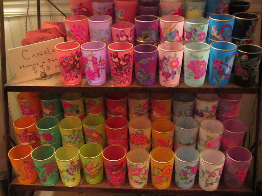 Brightly colored candle holders.