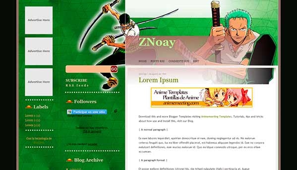 anime blogger template ZNoay