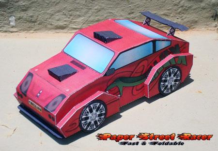 Street Racer Paper Toy Killer Snake