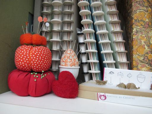pincushion collection and some special acorns sent by Vintage by Crystal   http://vintagebycrystal.com/