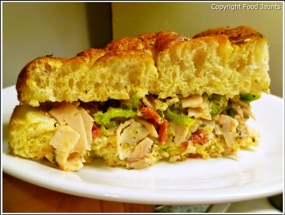 Italian Turkey Broccoli Focaccia Sandwich