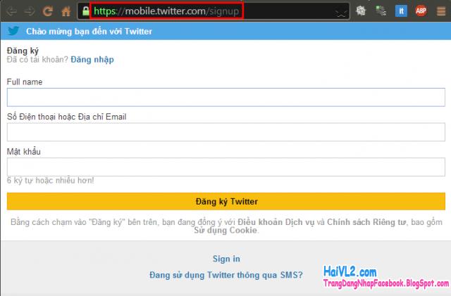 trang đăng ký twitter