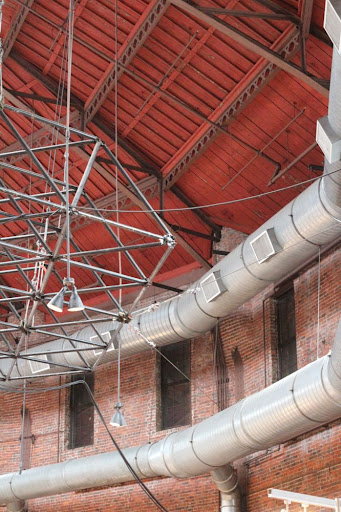 part of a wall, the roof, and some rigging at the Cyclorama