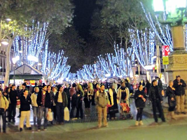 ランブラス通りのクリスマスイルミネーション@バルセロナ