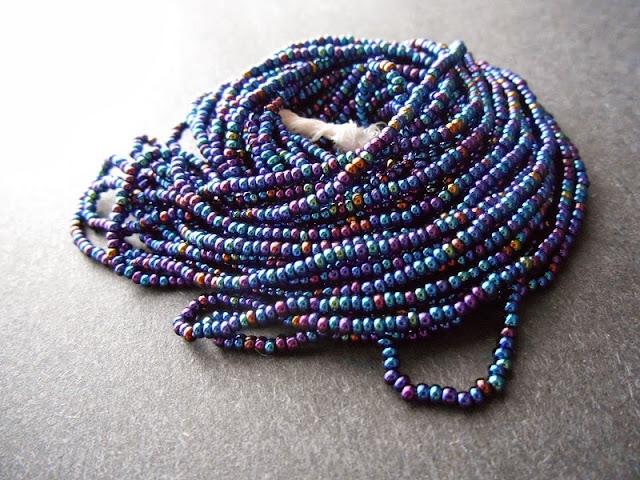 Dark Blue Iris Seed Beads