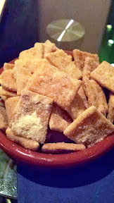 Cheezy Bits- a grown-up version of homemade Cheez-Its... Made with pie dough, cheddar cheese, butter, and dusted with Rogue Creamery blue cheese powder... These beauties are gloriously, insanely addictive.