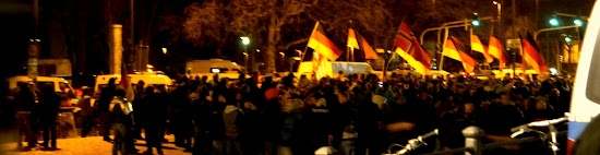 Demonstranten mit Deutschland-Fahnen.