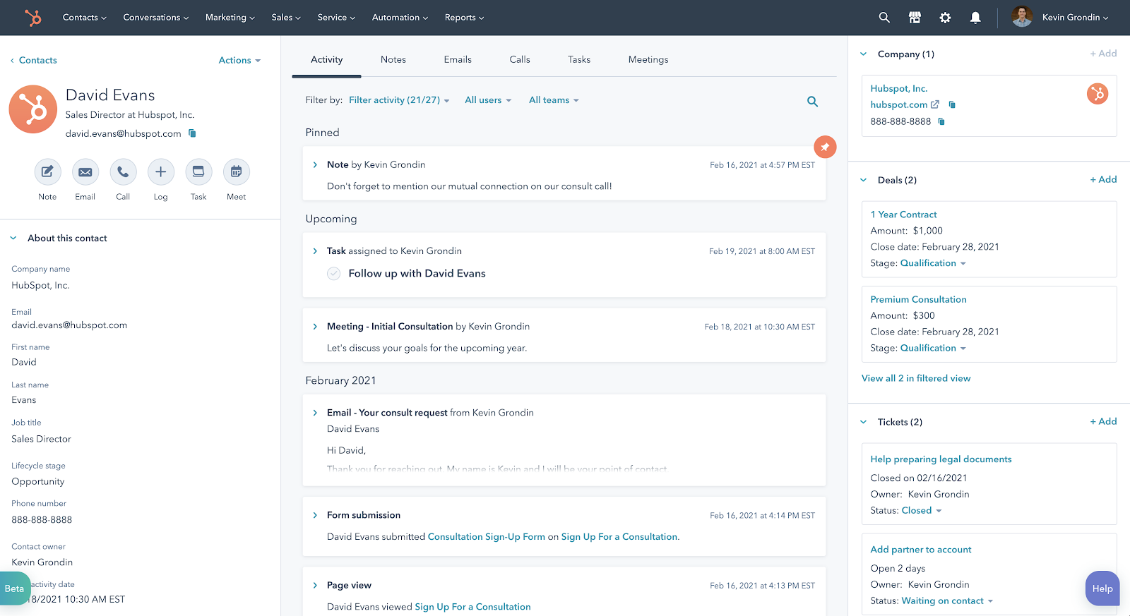 Screenshot of a glanceable contact record within HubSpot