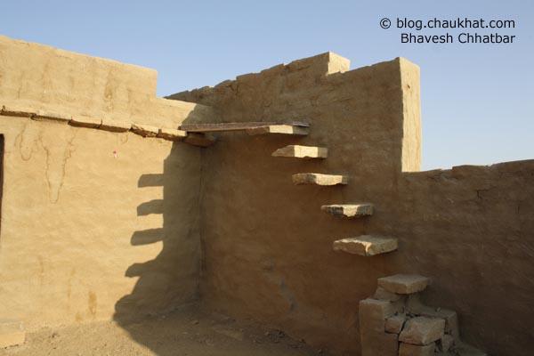 Kuldhara Village in Jaisalmer - Stairs to Terrace of a Rebuilt House