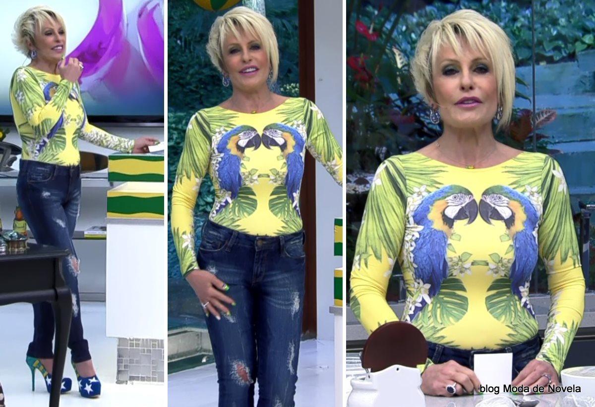 moda do programa Mais Você - look  da Ana Maria Braga com body de araras dia 4 de julho