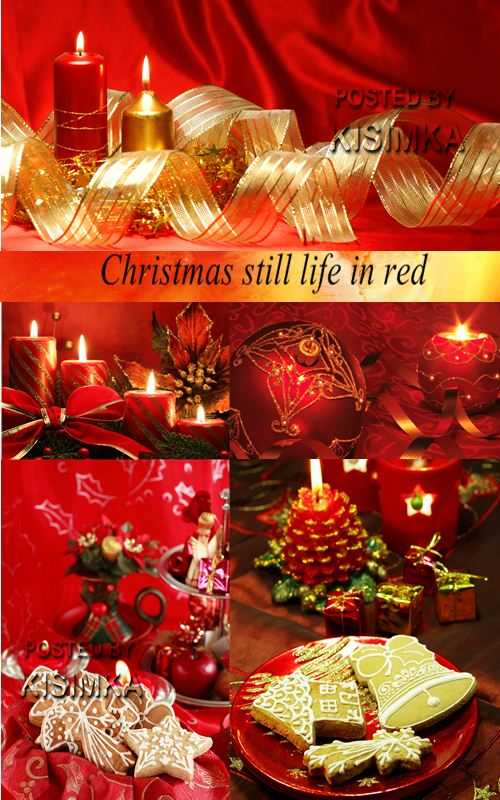 Stock Photo: Christmas still life in red