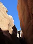 Climbing over a boulder