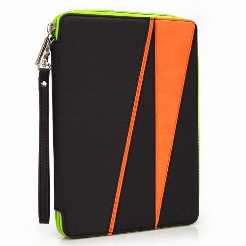 GizmoDorks Travel Folio Zipper Stand Case Cover Pouch for Acer Iconia Tab A100 Tablet with Carabiner Key Chain - Orange