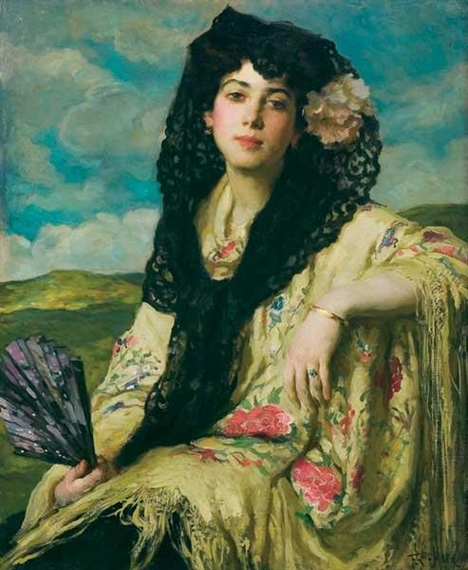 Francis Luis Mora - A Beauty with a Black Mantilla
