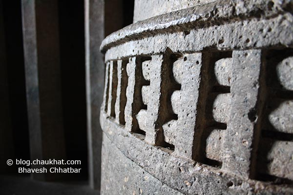 The base of the Stup [AKA Stupa] inside Chaitya [main hall] of Bedse Caves