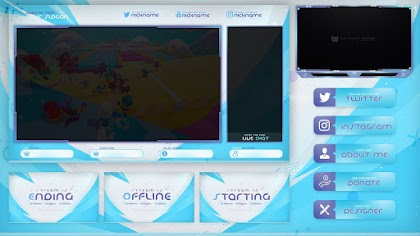 BLUE AND WHITE STREAM OVERLAY TEMPLATE FREE DOWNLOAD