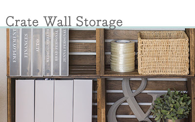 DIY rustic crate wall storage